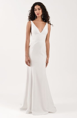 Jenny Yoo Neve Crepe Trumpet Wedding Dress