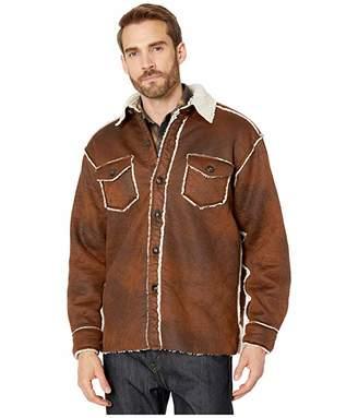 True Grit Vintage Bonded Faux Leather Two-Pocket Button Jacket (Vintage Brown) Men's Clothing