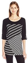 NY Collection Women's 3/4 Sleeve Told Tap Neck Neck Stripe Pullover