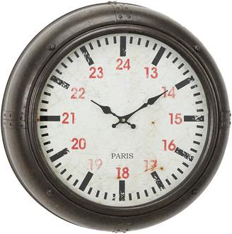 Uma Enterprises Uma Vintage Wrought Iron Porthole-Shaped Round Wall Clock With Textured Brown Frame