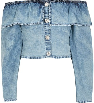 River Island Girls blue frill long sleeve denim crop top