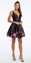 Camille La Vie Sweetheart Plunging Embroidered Mikado Fit And Flare Cocktail Dress