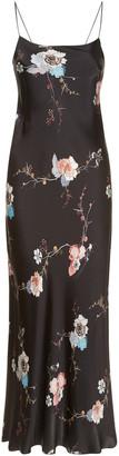 MENG Black Floral Silk Satin Long Slip