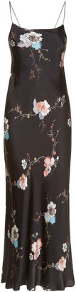 Meng MENG Black Floral Silk Satin Long Slip