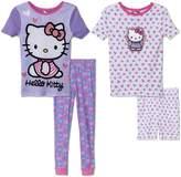 Komar Kids Girls' 4 Piece Pajamas Sleepwear Set with Shorts and Pants