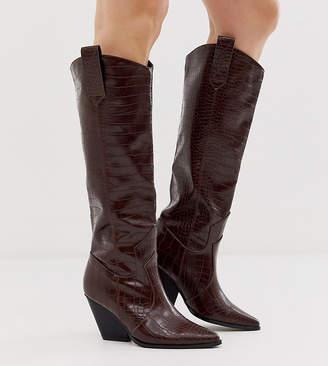 Z Code Z Z_Code_Z Exclusive Nuria chocolate croc knee high western boots