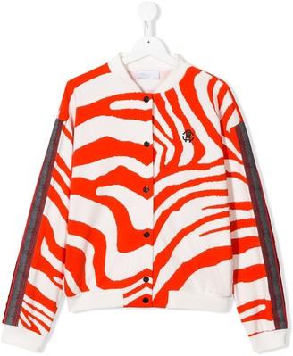 Roberto Cavalli Junior TEEN zebra print bomber jacket