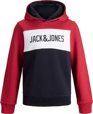 Jack and Jones Men's JJELOGO Blocking Sweat Hood JR Pullover