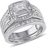 Julie Leah 1/4 CT TW Diamond Filigree Sterling Silver Vintage Princess Cut Bridal Set