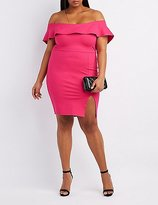 Charlotte Russe Plus Size Ruffle Off-The-Shoulder Bodycon Dress