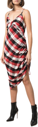 Monse Twisted Plaid Slip Ruch Dress