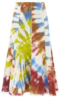 Gabriela Hearst Amy Fringed Tie-dye Recycled-cashmere Midi Skirt - Green Multi