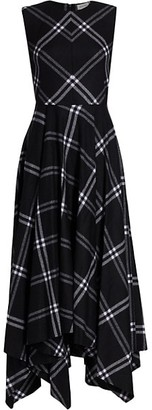 Alexander McQueen Check Wool & Cashmere Midi Dress