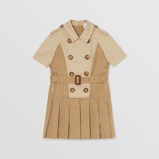 Burberry Two-tone Stretch Cotton Belted Trench Dress