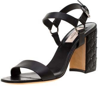 Valentino Black Leather Rockstud Spike Block Heel Sandals Size 38