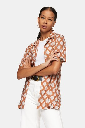 Topman Womens Geometric Print Short Sleeve Shirt - Brown