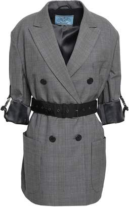Prada Belted Prince Of Wales Checked Wool Jacket