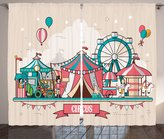 Ambesonne Circus Decor Collection, Circus Facilities Scenery in Flat and Balloons Children at Park Image, Window Treatments for Kids Girls Boys Bedroom Curtain 2 Panels Set, 108X63 Inches, Pink Blue
