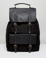 Asos Backpack In Black Canvas With Leather Trims