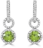 Effy Jewelry Effy 14K White Gold Peridot and Diamond Earrings, 1.95 TCW