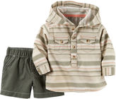 Carter's Long-Sleeve Striped Hooded Shirt and Shorts Set - Baby Boys newborn-24m