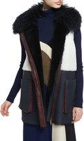 Diane von Furstenberg Lyle Colorblock Shearling Vest, Navy/White/Bordeaux