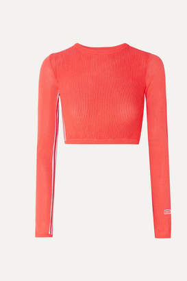 adidas Cropped Striped Ribbed Stretch-knit Top - Tomato red