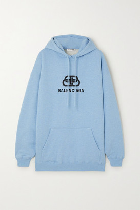 Balenciaga Oversized Printed Cotton-jersey Hoodie - Blue