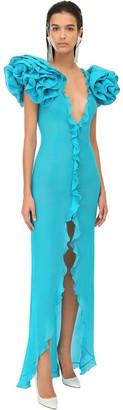 Alessandra Rich Ruffled Georgette Long Dress