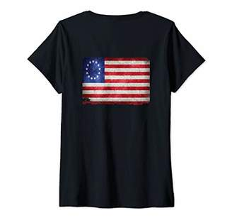 Womens Betsy Ross Shirt print on back distressed vintage 1776 flag V-Neck T-Shirt