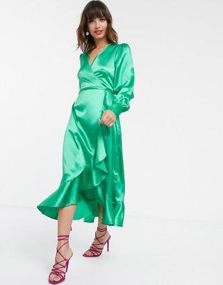 Pretty Lavish midi wrap dress in luxe satin