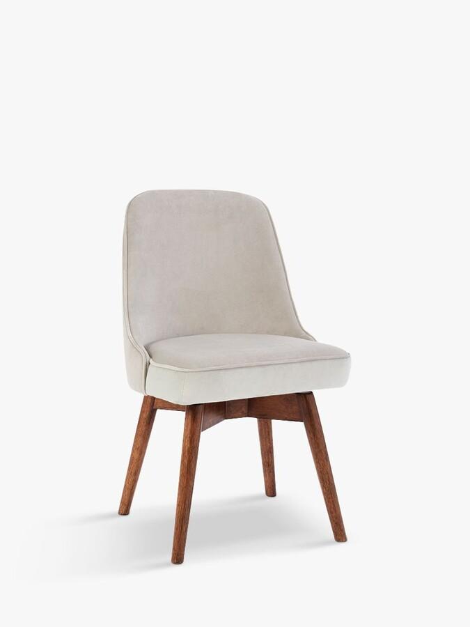 west elm Mid-Century Velvet Swivel Office Chair, Grey/Natural
