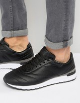 Pull&Bear Faux Leather Runner Sneakers In Black