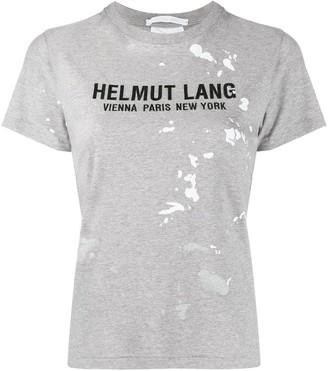 Helmut Lang paint-splattered logo-print T-shirt