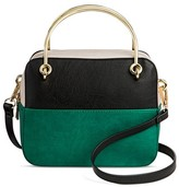 Cesca Women's Cesca Small Colorblocked Crossbody with Metal Handles - Black/Green