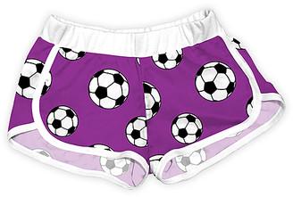 Urban Smalls Girls' Casual Shorts Multi/White - Purple & White Soccer Shorts - Toddler & Girls