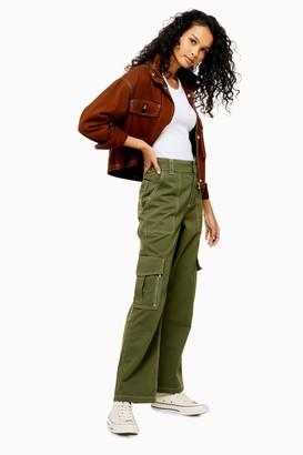 Topshop Womens Khaki Straight Leg Utility Trousers - Khaki