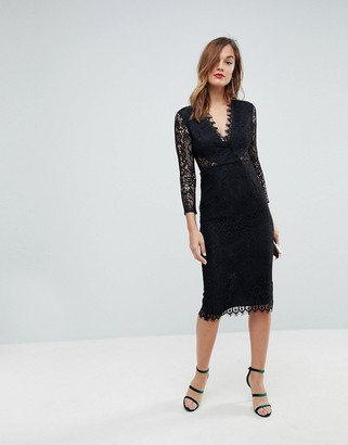 Asos Design Long Sleeve Lace Midi Pencil Dress-Black