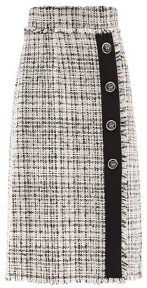 Dolce & Gabbana High-rise Wool-tweed Midi Skirt - White Black