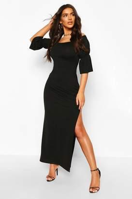 boohoo Off Shoulder Frill Cuff Maxi Dress