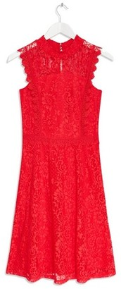 Dorothy Perkins Womens Coral Lace Fit And Flare Dress, Coral