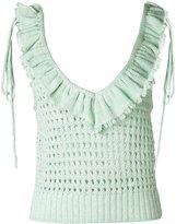Philosophy Di Lorenzo Serafini - ruffle trim open-knit top - women - Cotton - 40