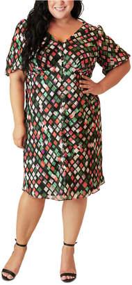 Maree Pour Toi Plus Size Split-Front Peasant Dress