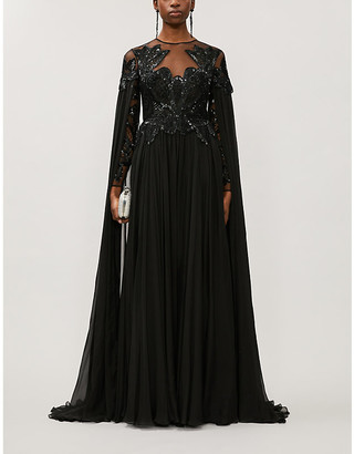 ZUHAIR MURAD Pamplona draped embellished silk gown