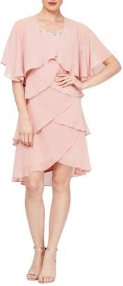 SL Fashions Chiffon Tier Beaded Dress