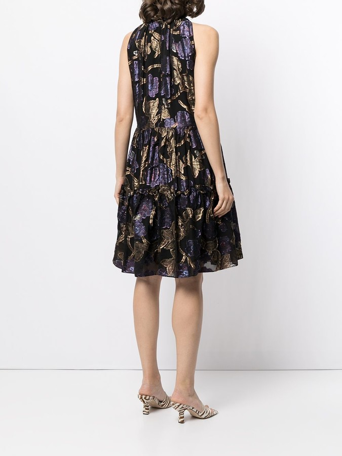 Thumbnail for your product : Sea Floral-Embroidered Ruffled Dress