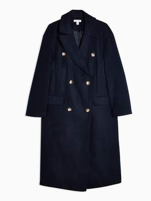 Topshop Double Breasted Longline Coat - Navy
