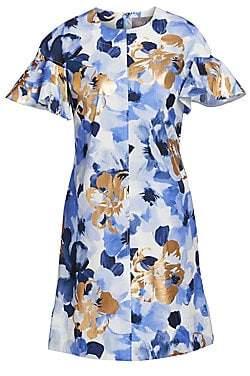 Lela Rose Women's Flutter Sleeve Floral Shift Dress