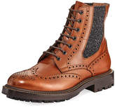 Brunello Cucinelli Brogue Leather Lace-Up Boot, Brown