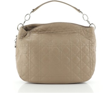Christian Dior Soft Lady Chain Hobo Cannage Quilt Leather Medium